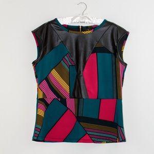 Color block peplum blouse faux leather XL.